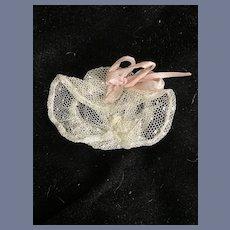 Petite Doll Lace Bonnet Hat Fancy W/ Ribbon