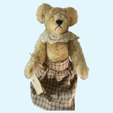 """Vintage Romerhaus Bears """"Wilhelmina"""" Saki Dressed W/ Signed Numbered Tag and String Tag and Booklet"""