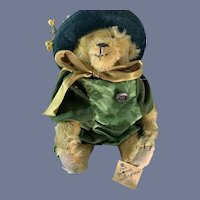 """Sweet Vintage Teddy Bear Jointed Mohair Artist Starnsy """" Winter Green"""" Stearns Country Store"""