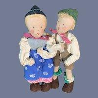 Wonderful BAPS Old Cloth Felt Doll Set Girl & Boy Original Clothes Character