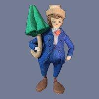 "Vintage BAPS Doll Cloth Felt Character Doll W/ Parasol 5"""