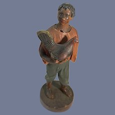 Old Wax Doll Francisco Vargas Man W/ Chicken W/ Tag Wood Stand Figure