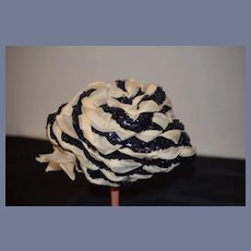Unique White and Black Braided Doll Bonnet for Larger Doll