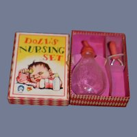 Vintage My Doll's Nursing Set in Original Box W/ Glass Bottle and Pacifier