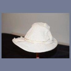 Wire Brim White Cloth Doll Bonnet