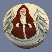 Miniature Artist Santa  Hand Painted Hat Box signed M.A. Yocom 82 Doll Box