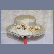 Old Vintage Covered Straw Bonnet W/ Flowers Doll Hat