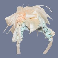 Wonderful Hand Made Doll Bonnet Topper Feathers Lace Bows