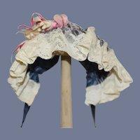 Vintage Doll Hat Bonnet Lace Trim Satin Gathers