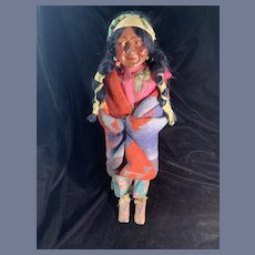 Antique Skookum Native American Doll Squaw W/ Popouse Bully Good Label