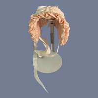 Wonderful Pink and White Gingham Bonnet W/ Lace and Bows Wire Frame
