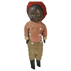 Antique SWEET Black Jointed Composition Doll Dressed