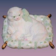 Old Porcelain Dresden White Cat On Pillow Miniature Dollhouse