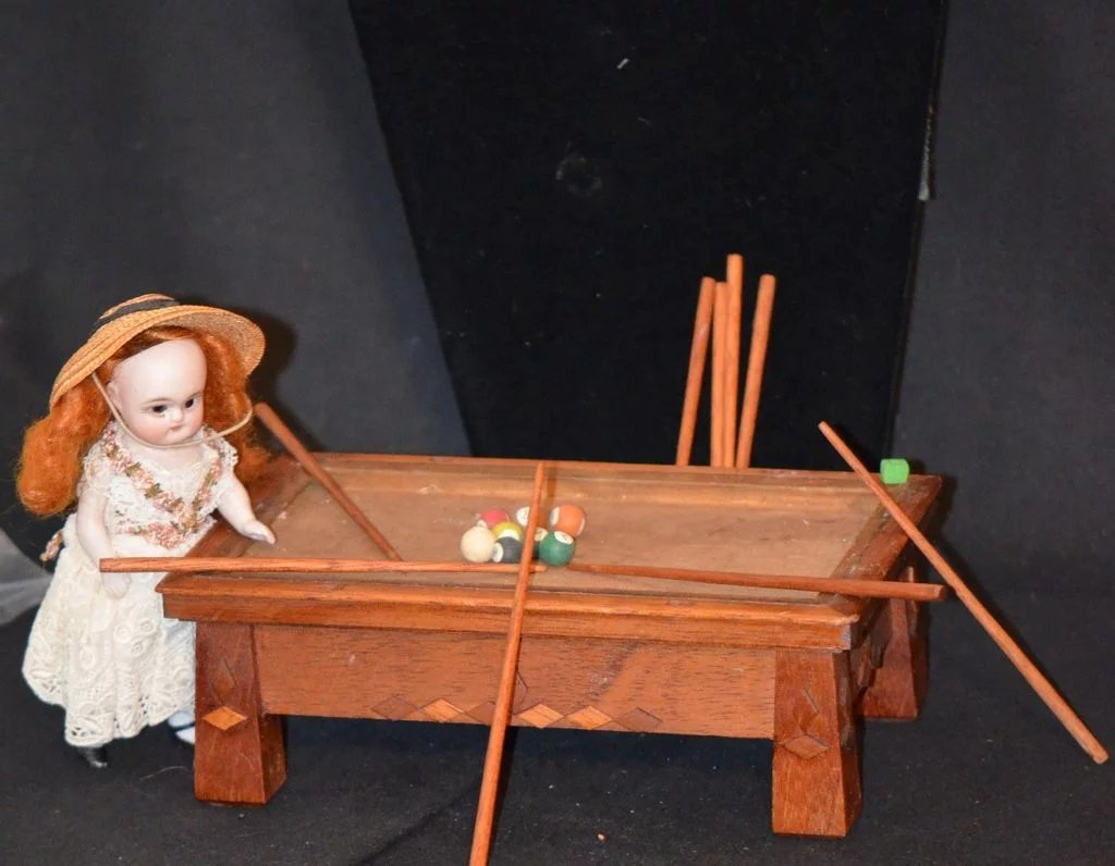 Vintage Miniature Dollhouse Pool Table For Doll Unusual Oldeclectics Ruby Lane