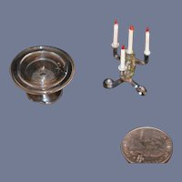 Old Miniature Glass Candelabra & Cake Stand Doll Dollhouse