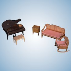 Old Metal Tootsie Toy Lot Miniature Dollhouse Piano Sofa Chair & More