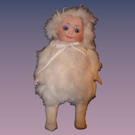 Antique Bisque Googly Doll In Fur Outfit