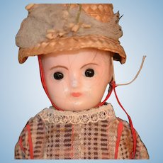 Antique Doll Wax Over Papier Mache Doll Dressed Molded head