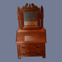 Antique Miniature Chest Walnut Carved W/ Mirror Dollhouse