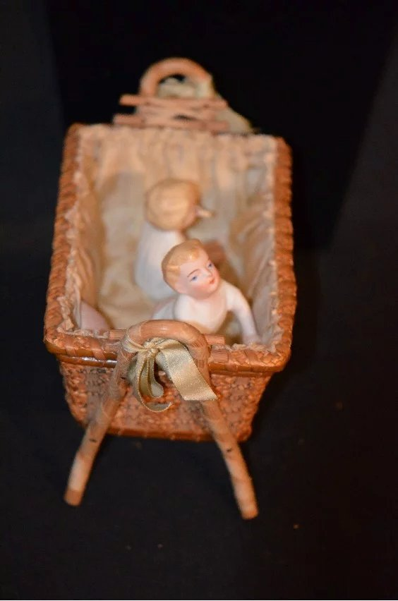 Antique Doll Bisque Set In Old Wicker Crib Miniature Piano