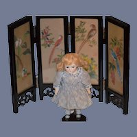 Miniature Doll Screen Black Lacquer Hand Painted Carved