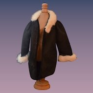 Old Doll Fur Trimmed Coat Jacket For Bisque Doll