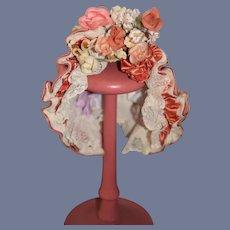 Fancy Pink Lace Floral Bonnet