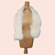 White Fur Scarf Made of Rabbit with Fox Face for Doll