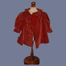 Red Velvet Button Up Doll Jacket Marked Molly'es Reg. U.S. Pat. Off.