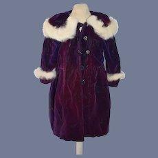 Velvet Purple Doll Overcoat with Fur Hood
