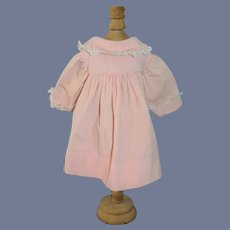 Pink Corduroy Doll Overcoat with Lace Trim