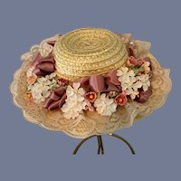 Straw Doll Hat with Ribbon Flower and Lace