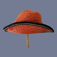 Red and Blue Straw Doll Hat