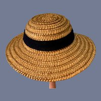Straw Doll Hat with Black Ribbon