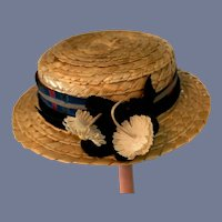 Round Straw Doll Hat with Plaid Ribbon and Flowers