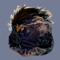 Velvet Blue Doll Hat with Feather Accent