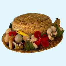 Straw Doll Hat with Fruit and Flowers