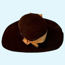 Brown Felt Wide Brim Doll Hat