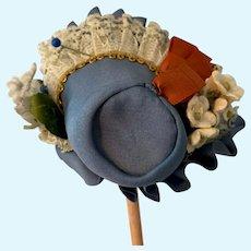Fancy Blue Cloth Doll Bonnet for Small Doll