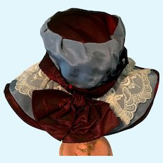 Blue and Maroon Doll Hat
