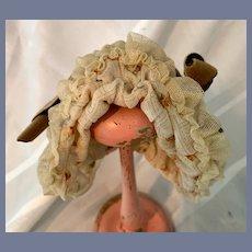 Peach Fabric Doll Bonnet W/ Lace