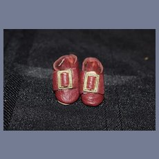Small Leather Red Buckle Doll Shoes Artist Made