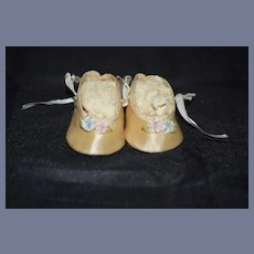 Silk Doll Shoes with Flower Accent