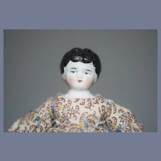 Bisque Miniature China Head Dollhouse Doll Dressed