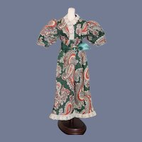 Green Paisley Patterned Doll Dress