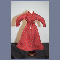 Red Patterned Doll Dress