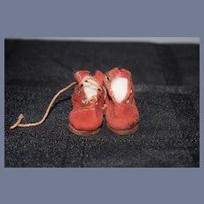 Red Fabric Miniature Doll Shoes