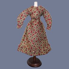 Red Diamond Patterned Doll Dress