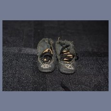 Black Doll Shoes with Silver Color Buckle