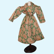 Vintage Doll Green Dress with Pink Paisley Print